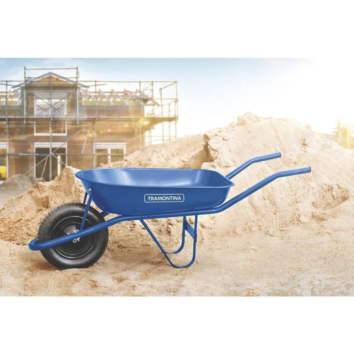 Carrinho de Mão Caçamba Redonda Azul 50L - Tramontina - MATERGI MATERIAIS DE CONSTRUÇÃO