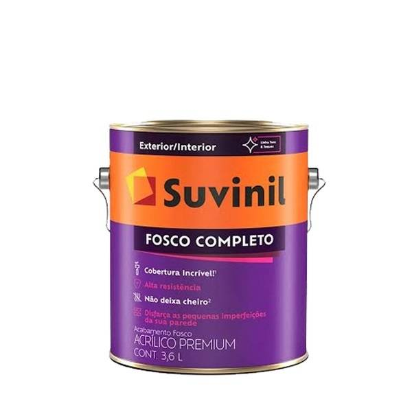 Tinta Acrílico Fosco Branco 3,6L Suvinil - MATERGI MATERIAIS DE CONSTRUÇÃO