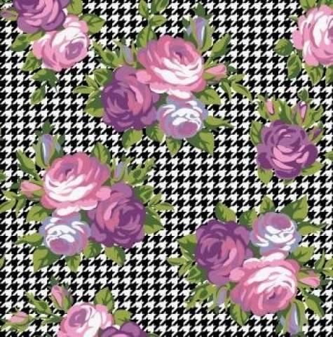 Tecido Tricoline Estampado Pied De Poule Floral - Ref. PI8009-1 - Eva e Eva - Armarinhos Nodari