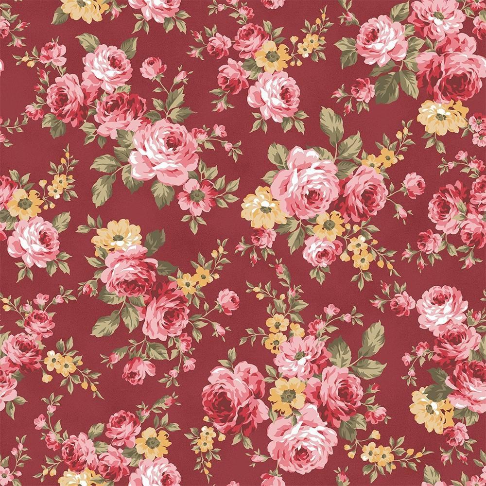 Grand Floral Vinho Ref. 9909 Fabricart - Armarinhos Nodari