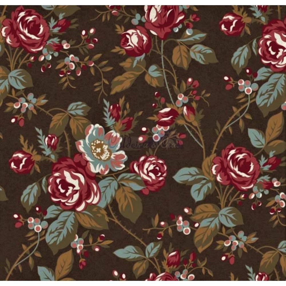 Floral Grace Kelly Marrom Ref. 180640 Cor 07 Caldeira - Armarinhos Nodari