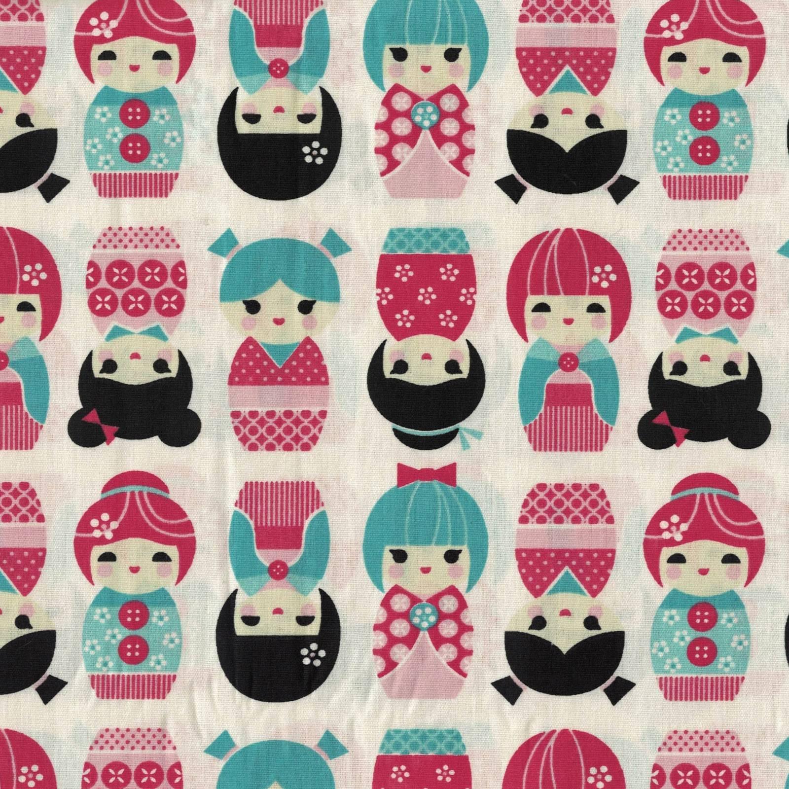 Bonecas Japonesas Fundo Off White - Ref. BJ6303-1 - Eva e Eva - Armarinhos Nodari