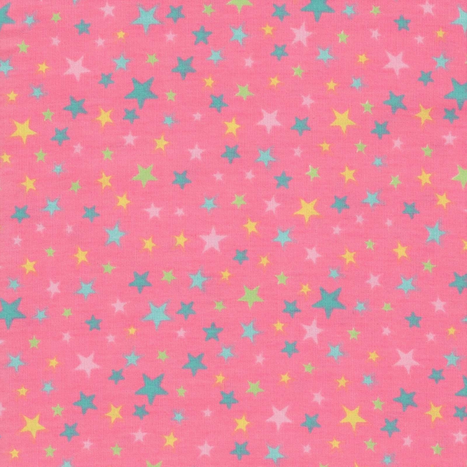 Estrelinhas Coloridas Fundo Rosa Chiclete Ref. CO6331-3 Eva e Eva - Armarinhos Nodari