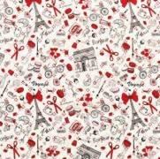 Tecido Tricoline Estampado Paris Elementos - Ref. 5538 cor A - Dohler