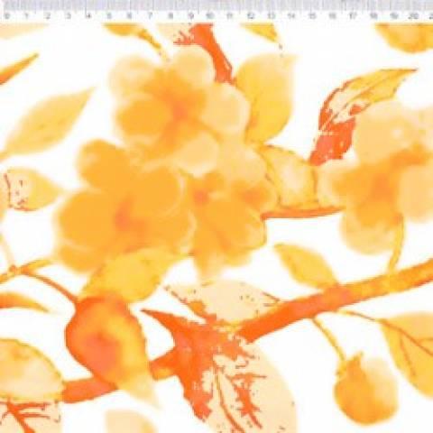 Sarja Estampada Barrado Floral Amarelo Fundo Natural Ref. PM003S01 Fernando Maluhy - Armarinhos Nodari