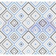 Tecido Tricoline Estampado Geométrico Azul Com Cinza - Ref. 180658 cor 03 - Caldeira