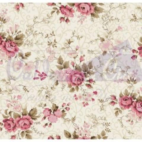 Floral Fernanda - Rosa Com Bege - Cor 02 - Ref. 200522 - Caldeira - Armarinhos Nodari