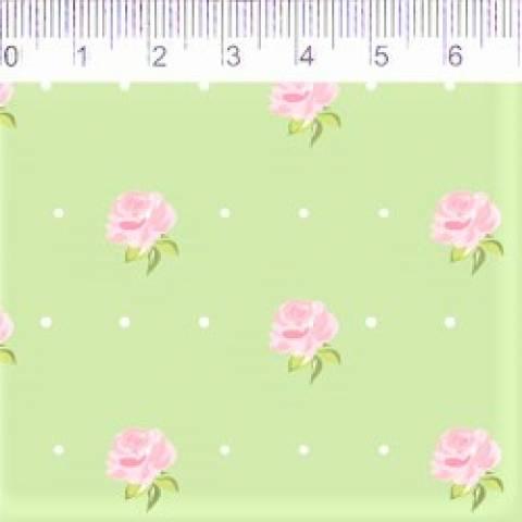 Floral - Florzinhas Fundo Verde - Ref. CP003C04 - Fernando Maluhy - Armarinhos Nodari