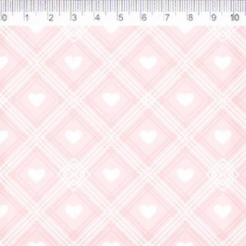 Coleção Coração de Pano - Xadrez Com Coração - Fundo Rosa - Ref. CP005C02 - Fernando Maluhy - Armarinhos Nodari