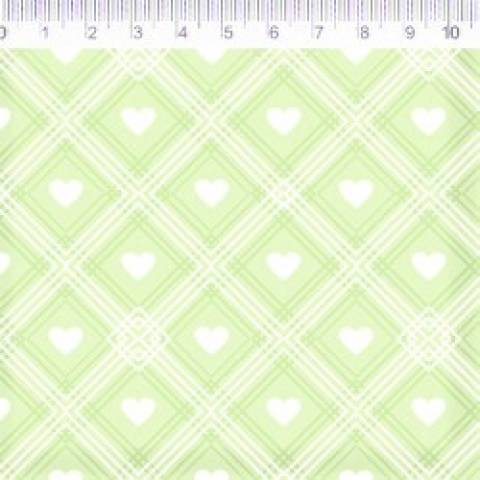 Coleção Coração de Pano - Xadrez Com Coração - Fundo Verde - Ref. CP005C04 - Fernando Maluhy - Armarinhos Nodari