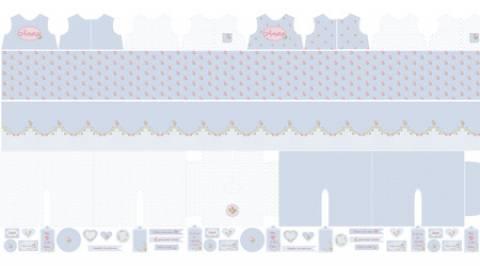 Painel - Coleção Coração de Pano - Florzinhas Fundo Azul - Ref. CP001C01 - Fernando Maluhy - Armarinhos Nodari