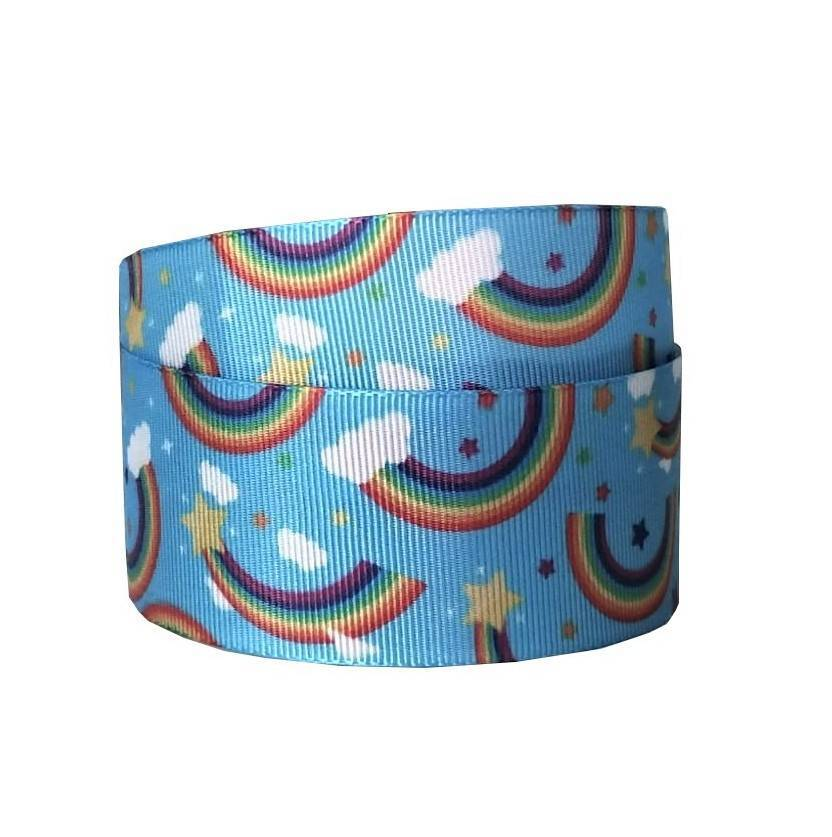Fita Decorativa - Arco-Íris (Fundo Azul) - Ref. 1665 - Cor 151 - 38mm com 10m - Sinimbu - Armarinhos Nodari