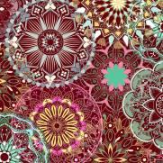 Tecido Tricoline Digital Estampado Mandalas - Ref. 9010 cor E042 - Peripan