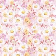 Tecido Tricoline Digital Estampado Lírios e Margaridas - Ref. 9009 cor E118 - Peripan