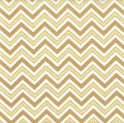Tecido Tricoline Estampado Chevron Bege com Detalhes em Dourado - Ref. 180205 Cor 24 - Caldeira