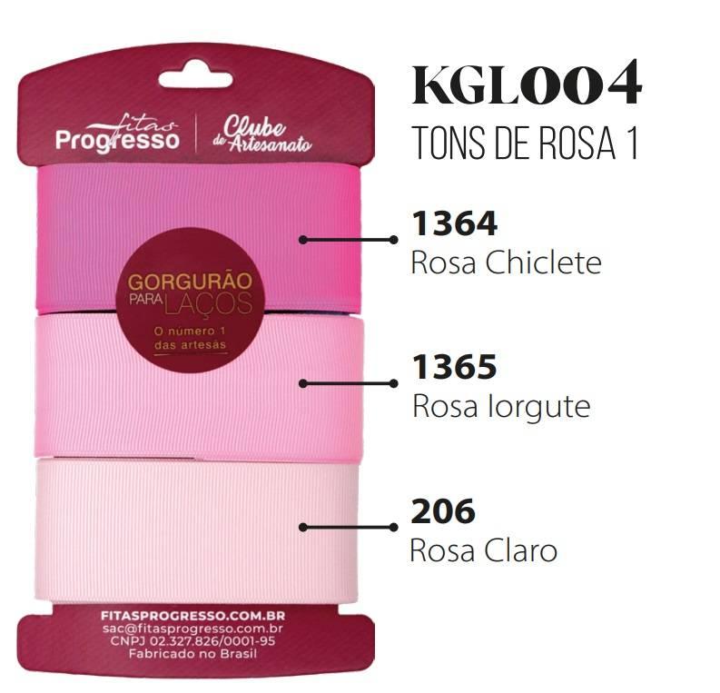 Kit Fitas de Gorgurão Tons de Rosa I Ref. KGL001 cor 004 - Progresso - Armarinhos Nodari
