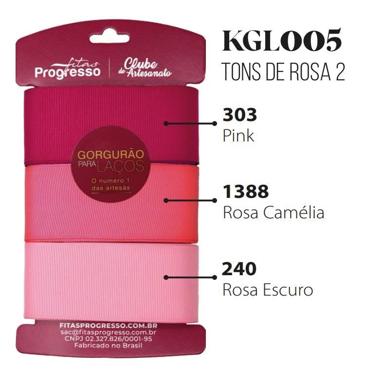Kit Fitas de Gorgurão Tons de Rosa II Ref. KGL001 cor 005 - Progresso - Armarinhos Nodari