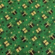 Tecido Tricoline Estampado Presentes de Natal com Dourado Fundo Verde - Ref 180205 Cor 76 - Caldeira