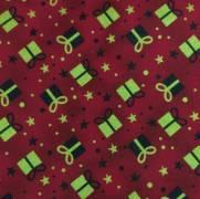 Tecido Tricoline Estampado Presentes de Natal Dourado Fundo Vermelho - Ref. 180205 Cor 75 - Caldeira