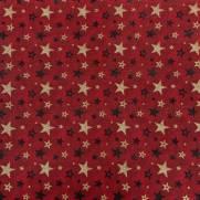 Tecido Tricoline Estampado Estrelas Natal Douradas Fundo Vermelho Escuro-Ref 180205 Cor 72 -Caldeira