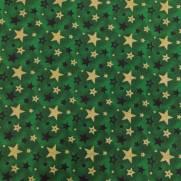 Tecido Tricoline Estampado Estrelas Natal Douradas Fundo Verde - Ref 180205 Cor 73 - Caldeira