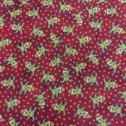 Tecido Tricoline Estampado Ursinhos de Natal Fundo Vermelho - Ref. 180205 Cor 04 - Caldeira