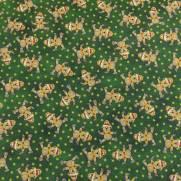 Tecido Tricoline Estampado Ursinhos de Natal Fundo Verde - Ref. 180205 Cor 05 - Caldeira