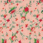 Tecido Tricoline Estampado Flores com Fundo Salmão - Ref. 8047 Cor 02 - Peripan