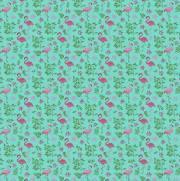 Tecido Tricoline Estampado Flamingos Fundo Verde - Ref. 1550 - Círculo
