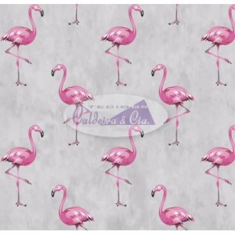 Tecido Estampado Flamingo cor - 03 (Cinza) Ref. 180609 cor 03 - Armarinhos Nodari