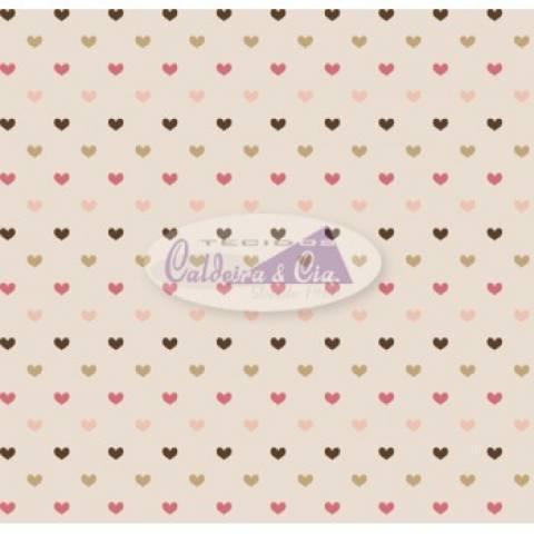 Tecido Estampado Amor cor - 08 (Rosa com Marrom) Ref. 180572 cor 08 - Armarinhos Nodari