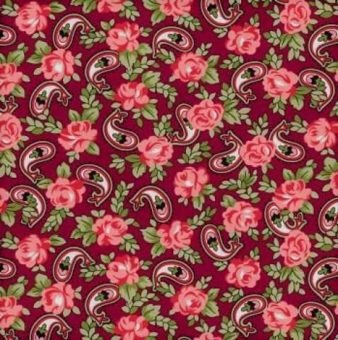 Tecido Tricoline Estampado Paisley Floral Fundo Bordô - Ref. CV6316-6 - Eva e Eva - Armarinhos Nodari