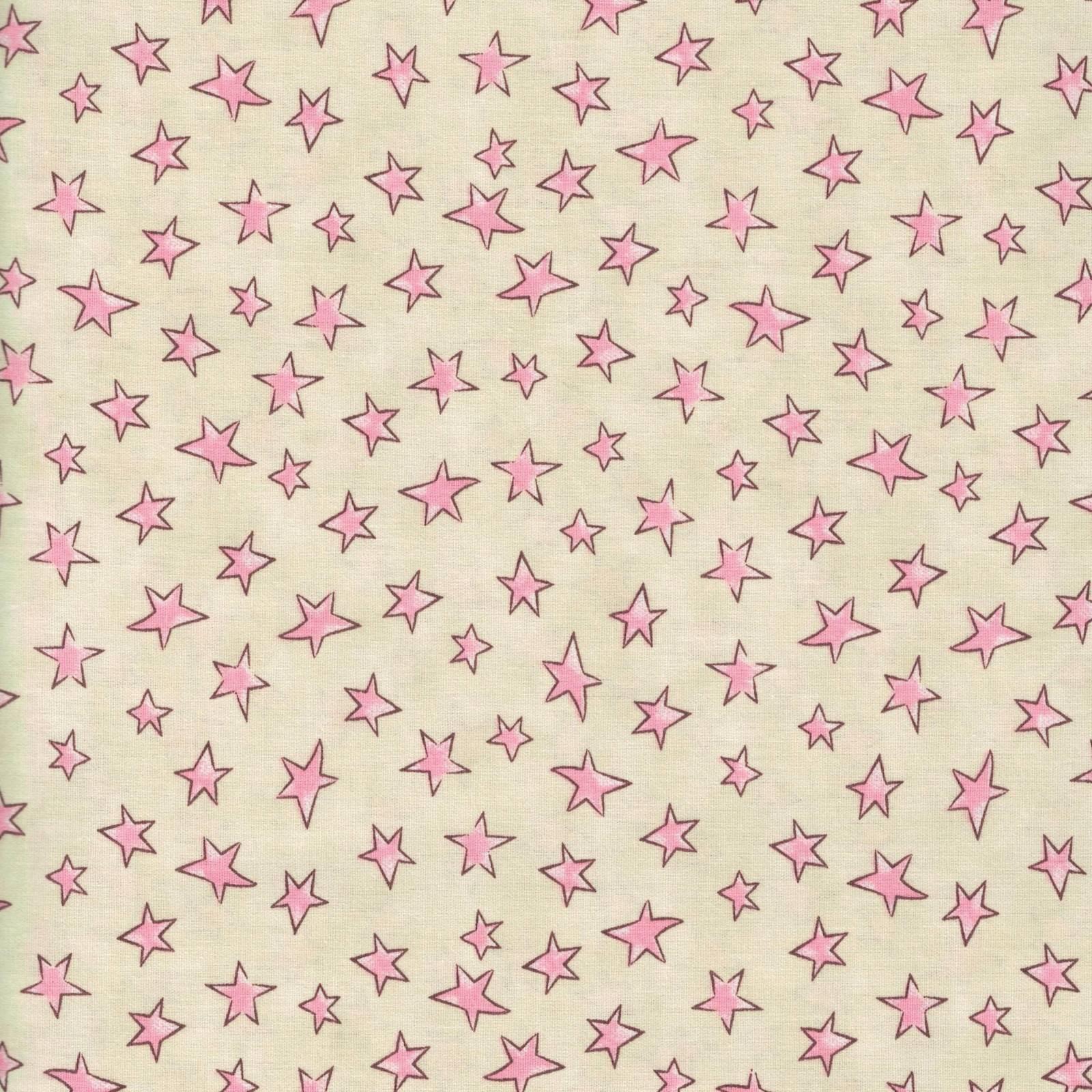 Estrelinhas creme com rosa Ref. 180626 cor 01 - Armarinhos Nodari