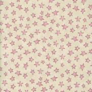 Tecido Tricoline Estampado Estrelinhas Creme Com Rosa - Ref. 180626 cor 01 - Caldeira