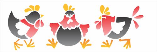 Stencil 10x30cm OPA galinhas country Ref. OPA1876 - Armarinhos Nodari