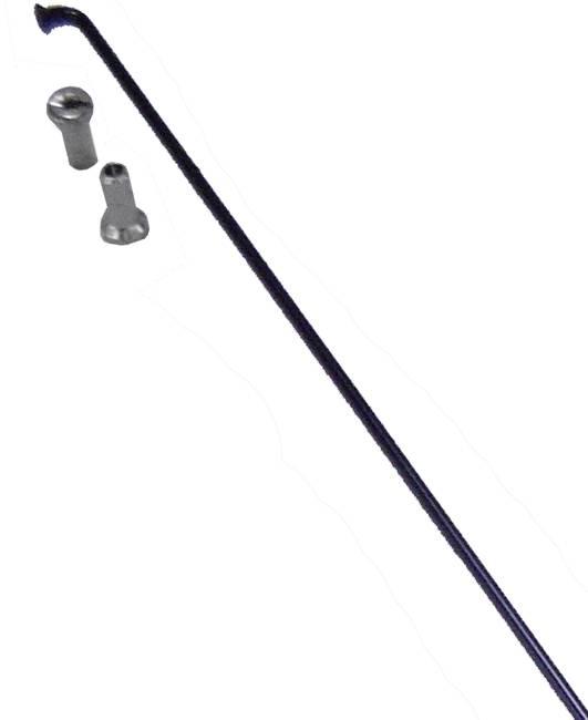Raio Inox Preto com Niple 2,0 x 255mm - Shadar - BIKE ALLA CARTE