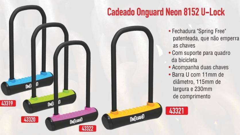 CADEADO U-LOCK PREMIUM ONGUARD NEON 8153 AZUL TRAVA BIKE - BIKE ALLA CARTE