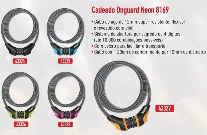 CADEADO ESPIRAL ONGUARD NEON LARANJA CABO AÇO SEGREDO SENHA - BIKE ALLA CARTE