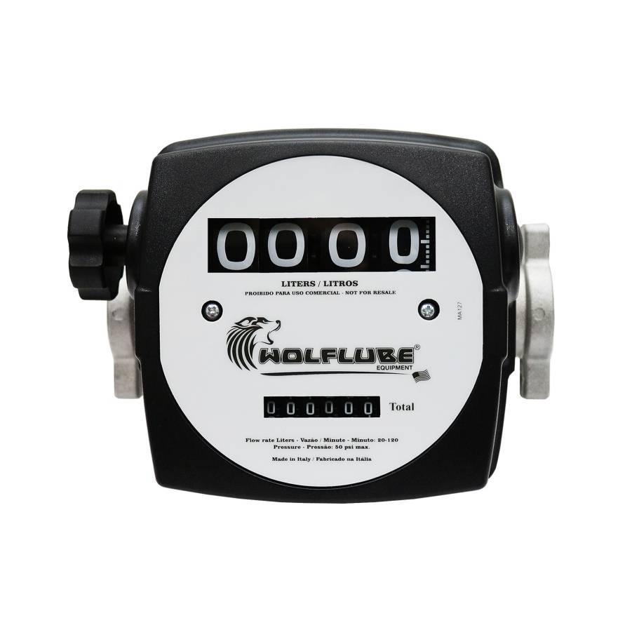 Medidor de vazão Mecânico para Diesel 4 dígitos 120Lpm Lupus - CASA DO FRENTISTA