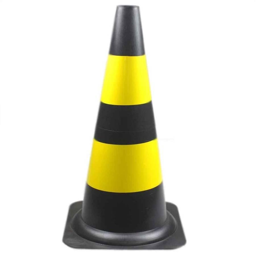 Cone de Sinalização em PVC 75cm Preto e Amarelo - CASA DO FRENTISTA