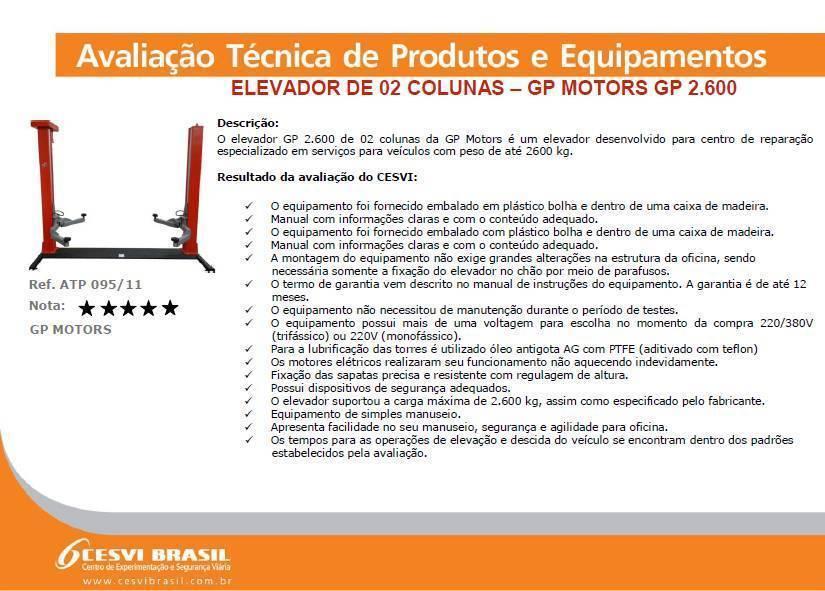 Elevador Automotivo GP Motors Vermelho 2600 kg 220V Trifásic - CASA DO FRENTISTA