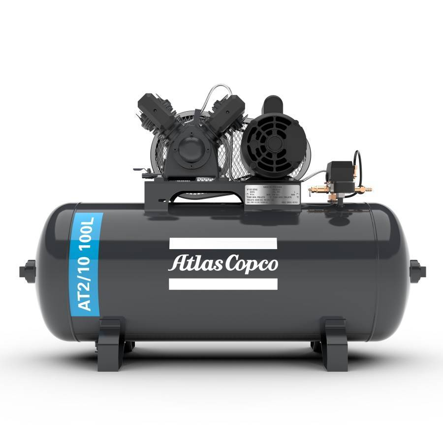 Compressor 10 Pés 100L 2hp Monofásico Atlas Copco - CASA DO FRENTISTA