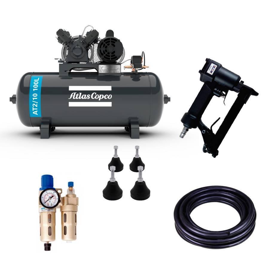 Kit Pneumático com Compressor 10 pés e Grampeador - CASA DO FRENTISTA