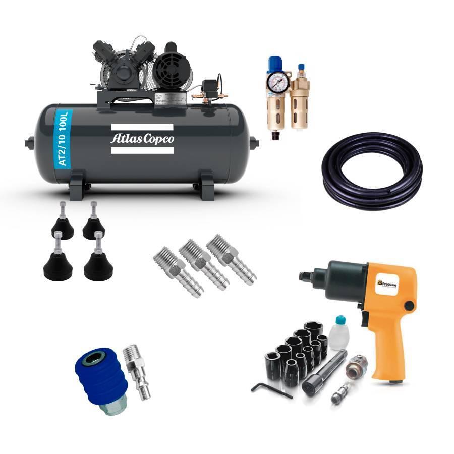Kit Pneumático com Compressor 10 Pés e Acessórios  - CASA DO FRENTISTA