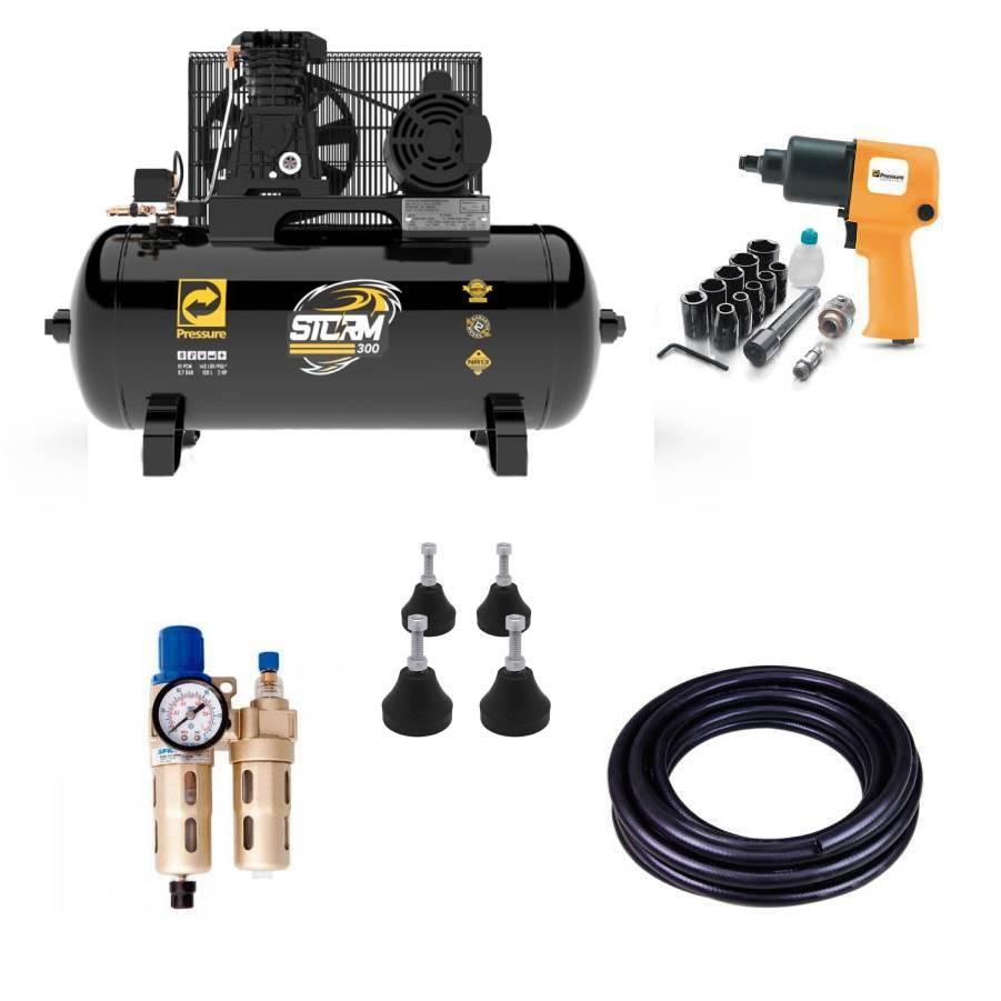 Kit Pneumático com Compressor 10 pés Pressure - CASA DO FRENTISTA