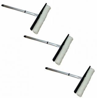 Kit com 3 Rodos Limpa Vidros 35cm com Cabo