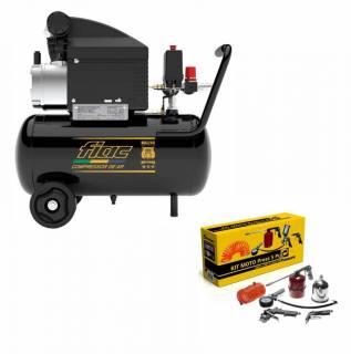 Motocompressor 8 pés 24 litros Fiac e Kit pintura com 5 pçs