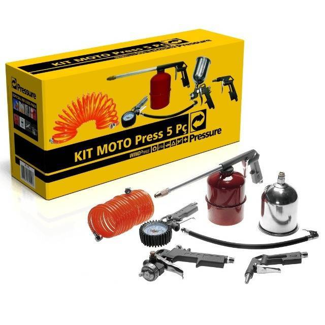 Motocompressor 8 pés 24 litros Fiac e Kit pintura com 5 pçs - CASA DO FRENTISTA