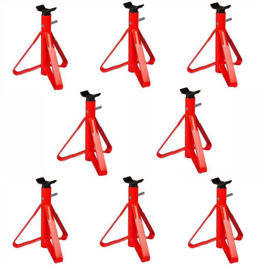 Kit 8 Cavalete para Automóvel 2 toneladas Vermelho com Haste - CASA DO FRENTISTA