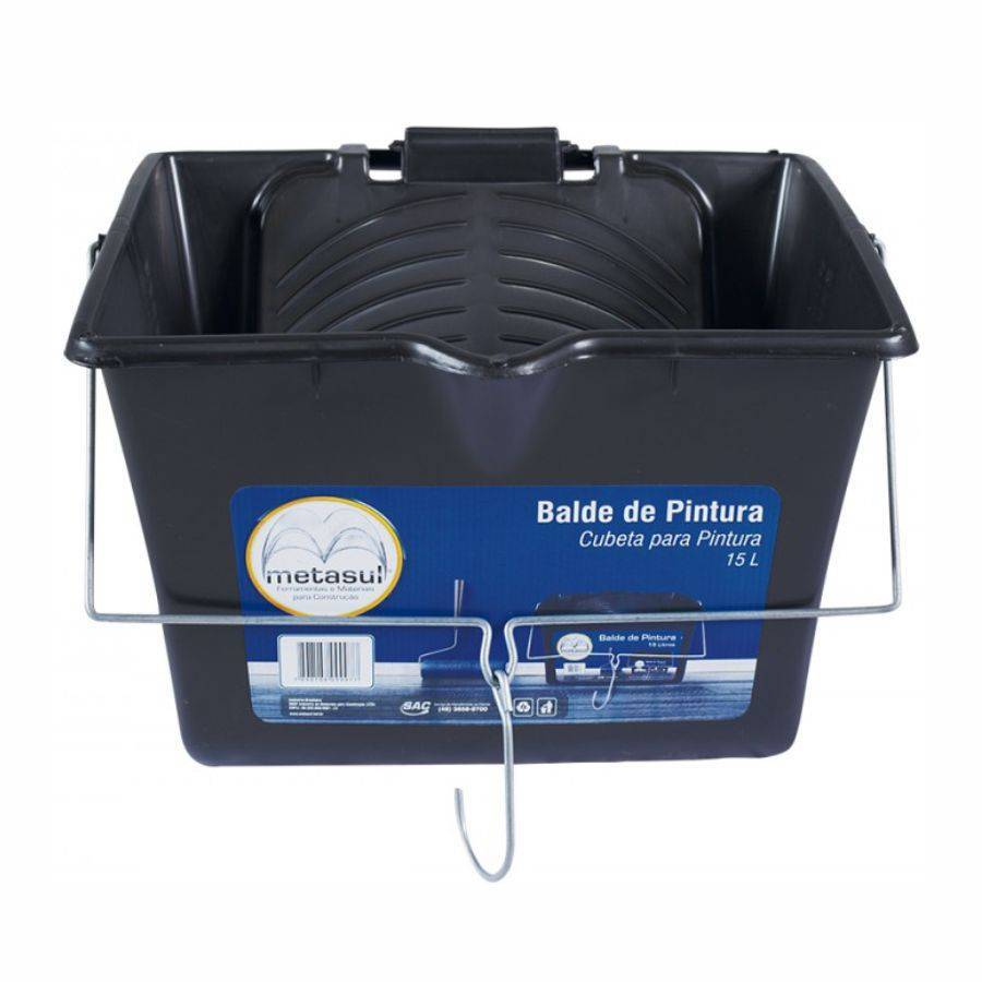 Balde para Pintura Polipropileno 15L Metasul Preto - CASA DO FRENTISTA